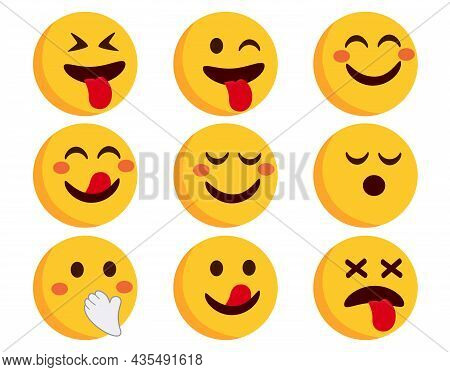 Emoji Emoticons Vector Set. Emojis Flat Characters In Blushing, Crazy And Happy Emoticon Side View F