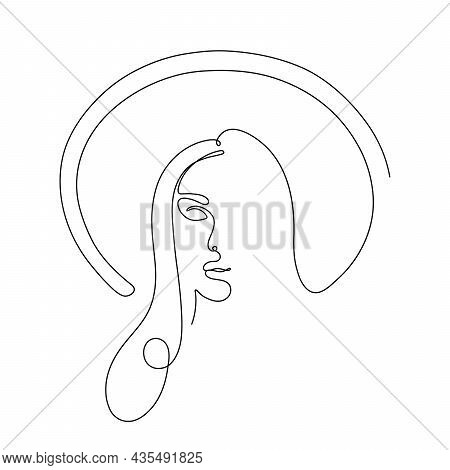 Continuous Line Drawing Of A Woman In Hat.  Single Line Drawing With Modern Continuous Line Art. Goo