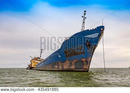 Wrecked Boat Abandoned In The Sea Near To Sulina, Romania