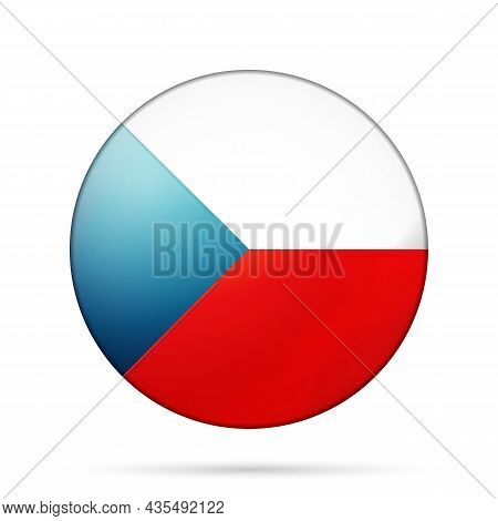 Glass Light Ball With Flag Of Czech Republic. Round Sphere, Template Icon. National Symbol. Glossy R