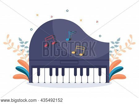 Music Festival Background Vector Illustration With Musical Instruments And Live Singing Performance