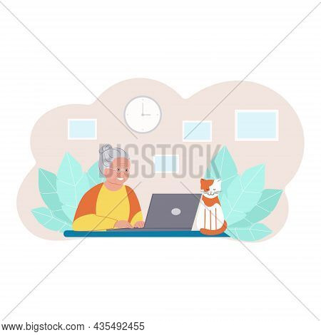 Happy Grandmother With Laptop. Senior Woman Working On Laptop, Domestic Cat. Vector Illustration In