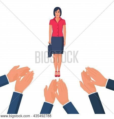 Applause To A Successful Businesswoman. Vector Illustration Flat Design. Isolated On White Backgroun