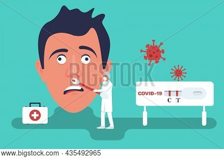 Nasal Laboratory Test From The Nose. Person Express Test. Study Of Patients. Diagnosis Of Coronaviru