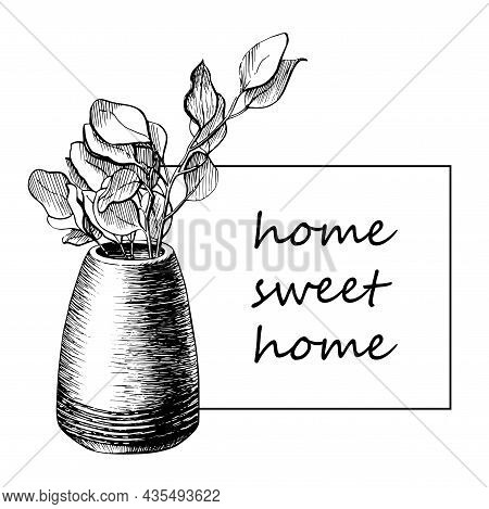 Flower In A Pot Line Graphic Drawing Postcard. Tree Branch In A Vase Vector Hand Drawn Illustration.