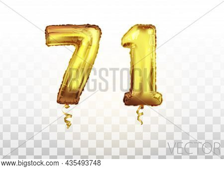 Vector Golden Foil Number 71 Seventy One Metallic Balloon. Party Decoration Golden Balloons. Anniver