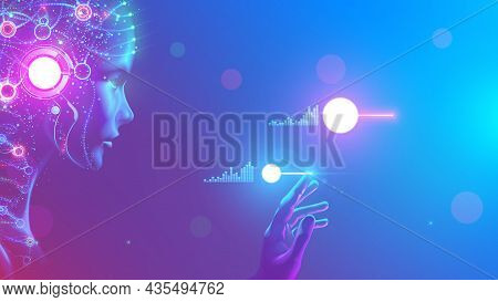 Ai In Image Cybernetic Anthropomorphic Woman Working With Matrix Data On Virtual Interface. Head Or