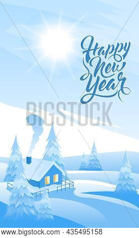 Winter Landscape Background With Text Happy New Year. Vector Background