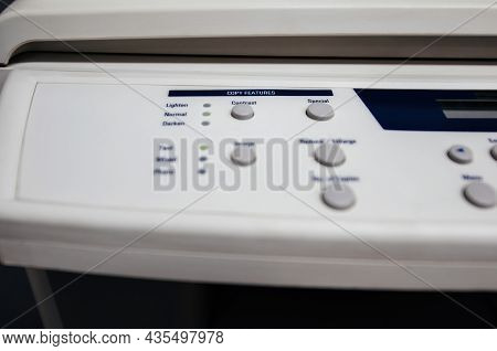 Close-up Of Fax Buttons Keypad For Dialing Modern - Vintage Copy Scanner Fax Machine With Focus On T