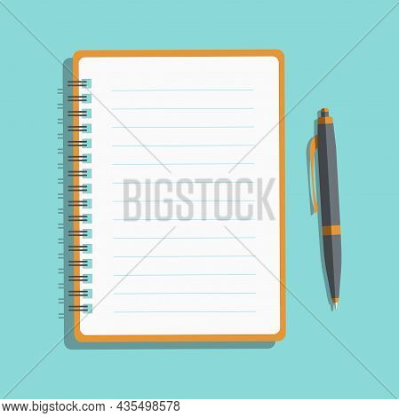 White Notebook With Lines Can Shred And Pencil. Notebook And Pen Isolated On Background. Vector Illu
