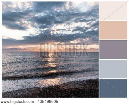 Pastel Colour Palette. Sea Sunset Tints, Color Swatch. Harmonious Colours Combinations.