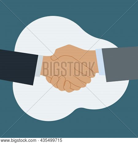 Shaking Hands Of Two Business Partners. Greetings At The Meeting. Symbol Of Agreement, Consent. Vect