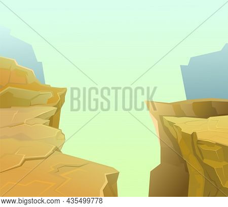 Rocky Cliffs. The Edge Of A Bottomless Abyss. Mountain Fog. Desert Natural Landscape With Stones. Il