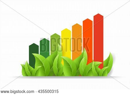Energy Efficiency Classes With Leaves In Foreground, Vector Concept