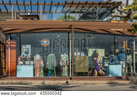 Portals Nous, Spain; October 03 2021: Shop Window Of The Fashion Store Gulf With Clothes Inside, In