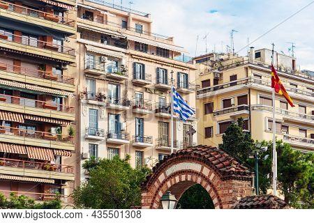 Greek flag in Thessaloniki, Greece
