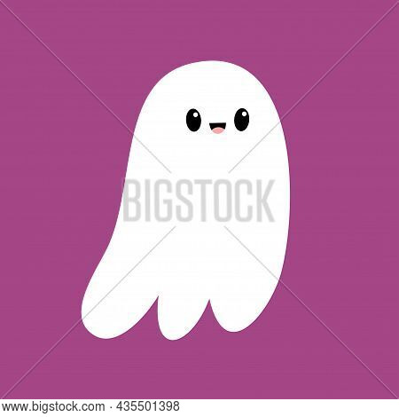 Cute Flying Ghost Spirit. Scary White Ghosts. Happy Halloween. Cartoon Kawaii Funny Spooky Character