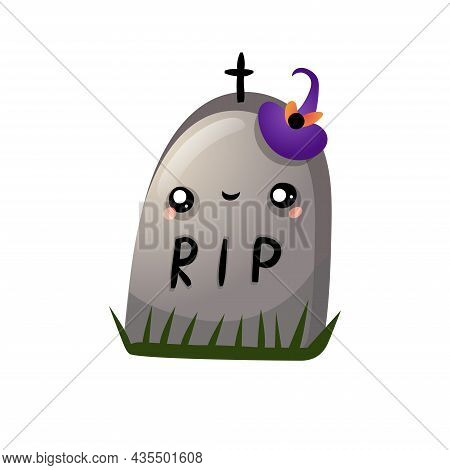 Autumn Halloween Kawaii Vector Design With A Cute Tombstone With Hat. Illustration For Kids, Celebra