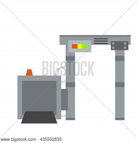 Metal Detector. Safety Frame. Checking Dangerous Items. Airport Counterterrorism Equipment. Modern T