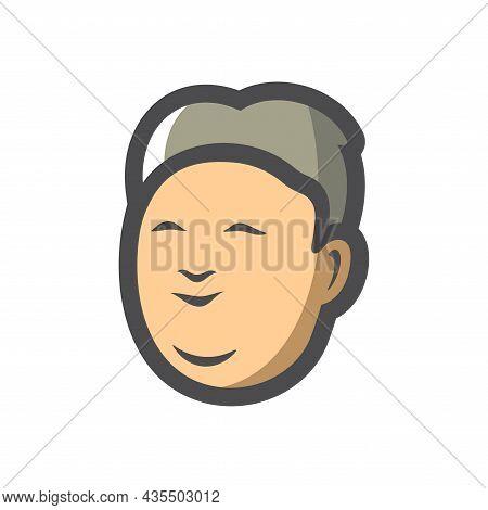 Asian Man Simple Vector Icon Cartoon Illustration