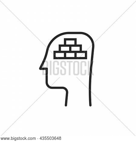 Mental Block Or Negative Mindset Icon. Concept Of Psychological Support Or Stability And No Anxiety