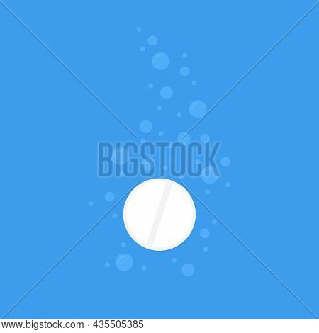 White Fizzy Pill With Water Bubbles. Concept Of Effervescent Treatment For Hangover Or Fever And Rou