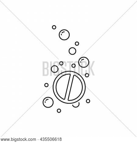 Thin Line Water Bubbles With Fizzy Pill. Flat Lineart Style Trend Modern Stroke Doze Logotype Graphi