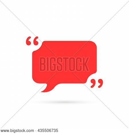 Red Simple Comment Bubble Like Quote Icon. Flat Cartoon Trend Modern Textbox Note Logotype Graphic D