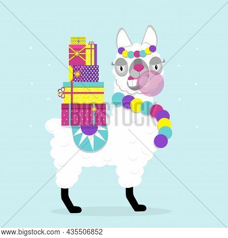 Funny Lama Alpaca With New Year\'s Gifts And Gum On Blue Background. Flat Image Of Cute And Funny An
