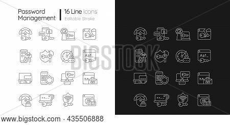 Password Management Linear Icons Set For Dark And Light Mode. Smartphone And Computer Safeguard. Onl