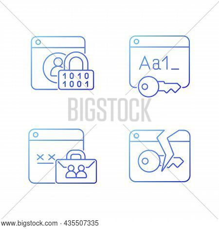 Password Encryption Gradient Linear Vector Icons Set. Internet Safety. Corporate System Security. Pa