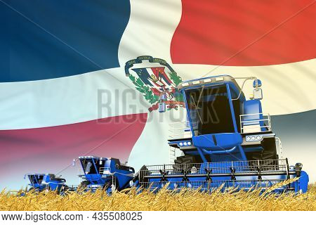 Industrial 3d Illustration Of Blue Farm Agricultural Combine Harvester On Field With Dominican Repub