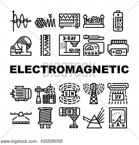 Electromagnetic Science Physics Icons Set Vector. Electromagnetic And Ultraviolet Waves, X-ray Elect