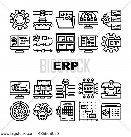 Erp Enterprise Resource Planning Icons Set Vector. Erp Working Process And Goods Production Control,