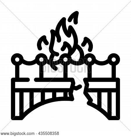 Burn Bridge And Divorce Line Icon Vector. Burn Bridge And Divorce Sign. Isolated Contour Symbol Blac