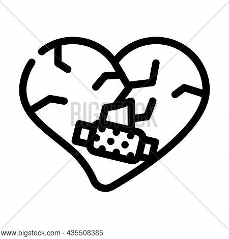 Heart Treatment After Divorce Line Icon Vector. Heart Treatment After Divorce Sign. Isolated Contour