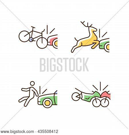 Traffic Collision Scenarios Rgb Color Icons Set. Bicycle Crash. Colliding With Wildlife. Hitting Ped