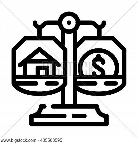 Property Division After Divorce Line Icon Vector. Property Division After Divorce Sign. Isolated Con