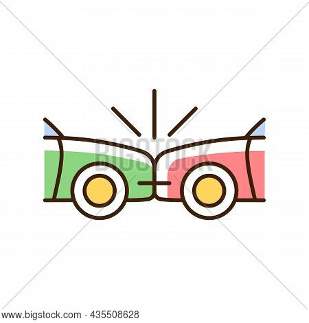 Head-on Collision Rgb Color Icon. Frontal Crash. Two Vehicles Collide Into One Another. Auto Acciden