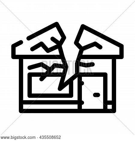 Crashed House Line Icon Vector. Crashed House Sign. Isolated Contour Symbol Black Illustration
