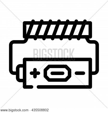 Battery Electromagnetic Line Icon Vector. Battery Electromagnetic Sign. Isolated Contour Symbol Blac