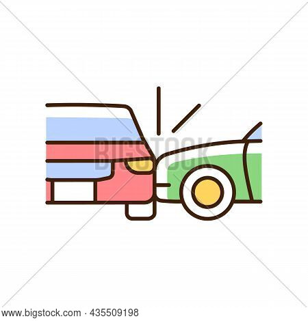 Side Collision Rgb Color Icon. Broadside Crash. T-bone Collision. Car Accident. Distracted Driving.