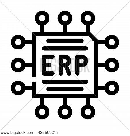 Cpu Enterprise Resource Planning Line Icon Vector. Cpu Enterprise Resource Planning Sign. Isolated C
