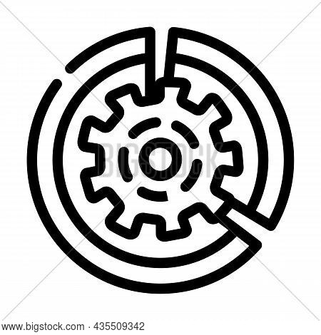 Gear Working Process Erp Line Icon Vector. Gear Working Process Erp Sign. Isolated Contour Symbol Bl
