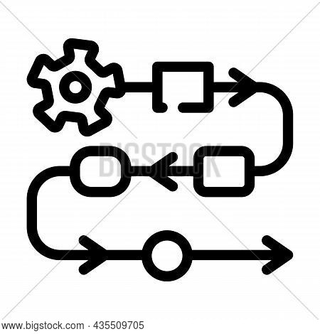 Production Stages At Enterprise Line Icon Vector. Production Stages At Enterprise Sign. Isolated Con
