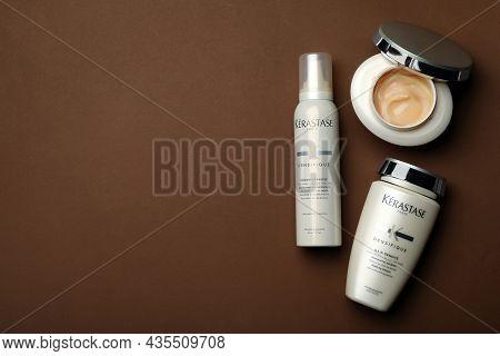 Mykolaiv, Ukraine - September 07, 2021: Set Of Kerastase Hair Care Cosmetic Products On Brown Backgr