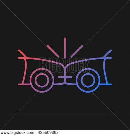 Head-on Collision Gradient Vector Icon For Dark Theme. Frontal Crash. Two Vehicles Collide Into One
