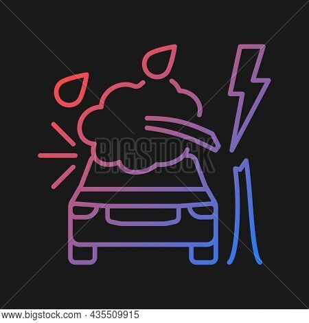 Weather Related Damage Gradient Vector Icon For Dark Theme. Tree Falling On Car. Outdoor Parking. Wi