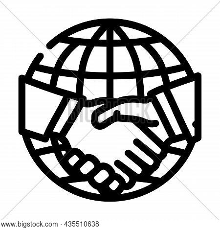 International Partnership Line Icon Vector. International Partnership Sign. Isolated Contour Symbol
