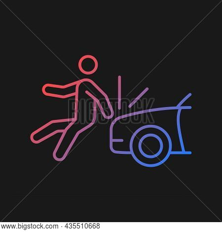 Collision Involving Pedestrian Gradient Vector Icon For Dark Theme. Hitting Walker By Car. Hit-and-r